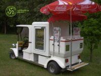 Fagylalt, üdítő és kávé árusító elektromos kisautók bérelhetőek rövid, - és hosszú távra.