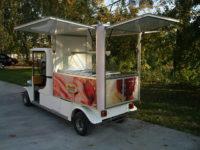 Látványhűtős fagylaltárusító elektromos jármű bérelhető rövid, - és hosszú távra